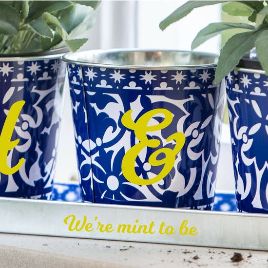 Personalised Trio Of Metal Planters