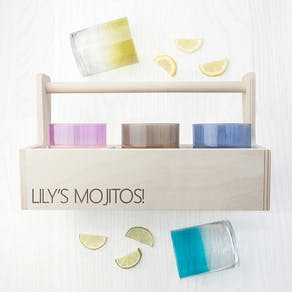 Personalised LSA Trug & Ombre Cocktail Glasses