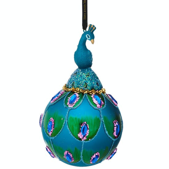 Personalised Turquoise Peacock Bauble