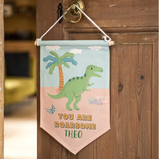 Personalised T Rex Hanging Cloth Banner Flag