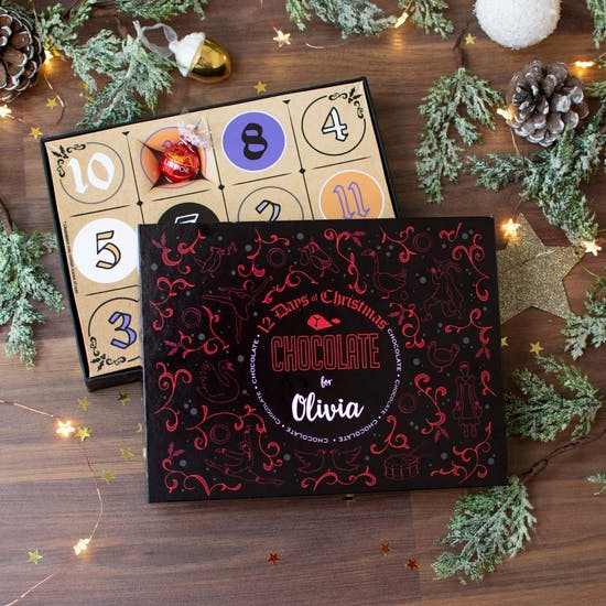 Personalised 12 Days Of Chocolate Advent