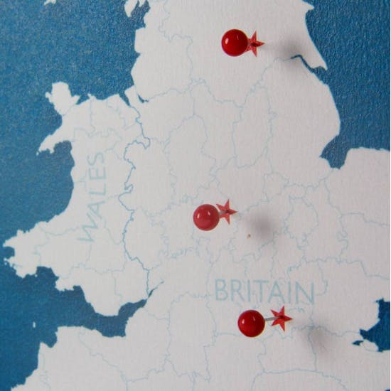 Personalised UK Push Pin Map