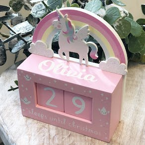 Personalised Unicorn Christmas Countdown