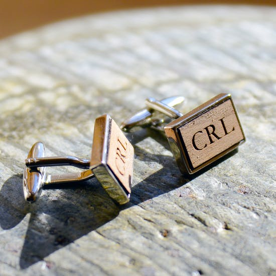 Personalised Walnut Cufflinks