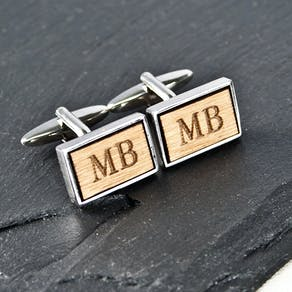 Personalised Walnut Wood Cufflinks