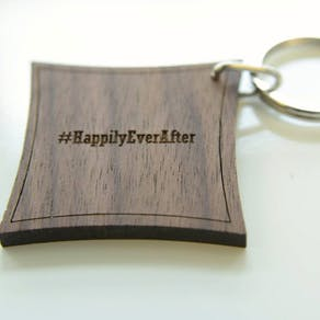 Personalised Walnut Wood Hashtag Keyring
