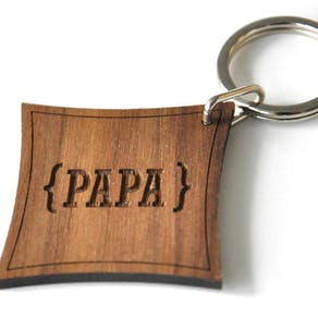 Personalised Walnut Wood Monogram Keyring