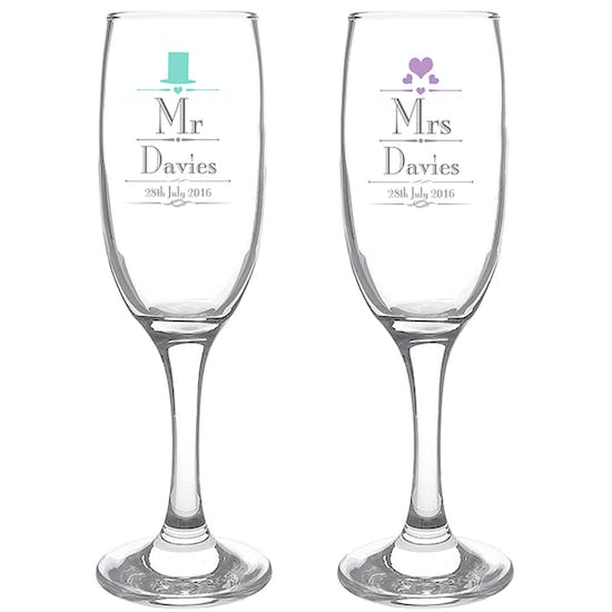 Personalised Wedding Mr And Mrs Flutes