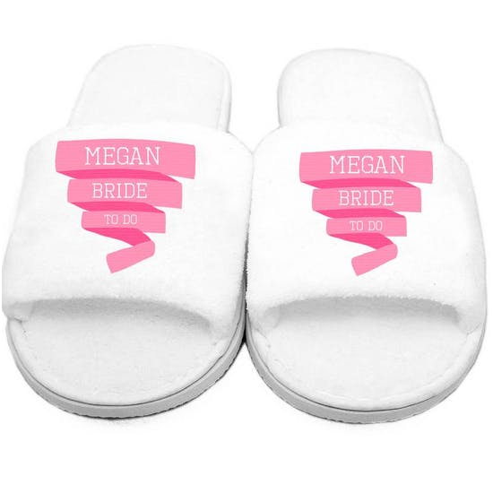 Personalised Velour 'Wedding' Slippers