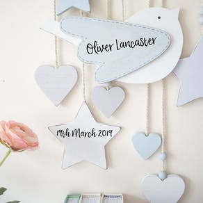 Personalised Wooden Bird Wall Mobile