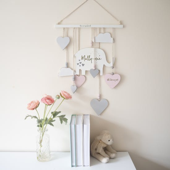 Personalised Wooden Elephant Wall Mobile
