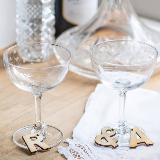 Personalised Wooden Letter Glass Charm
