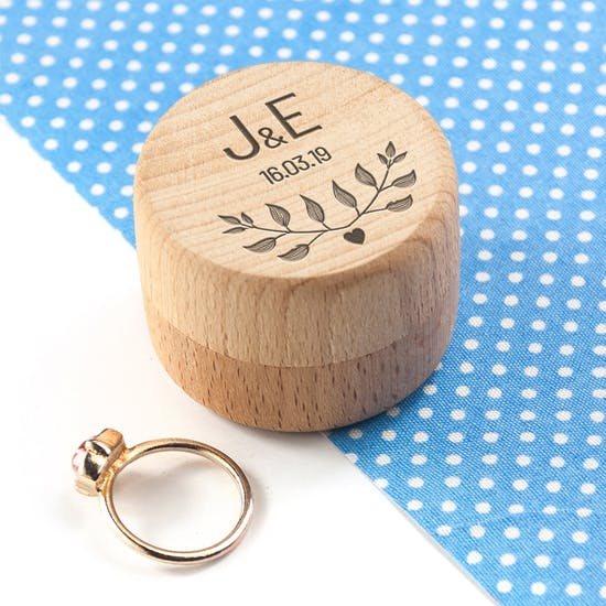 Personalised Wooden Special Date Ring Box