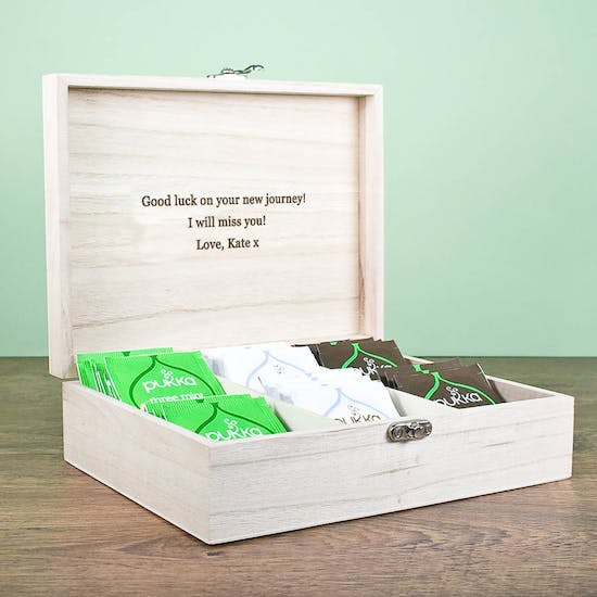 Personalised Wooden Tea Box Filled With Tea