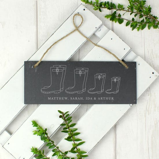 Personalised Welly Boot Family Slate Sign