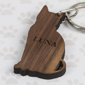 Personalised Walnut Wood Pet Shaped Keyring