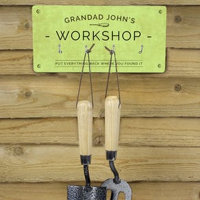 Personalised Workshop Sign With Hooks