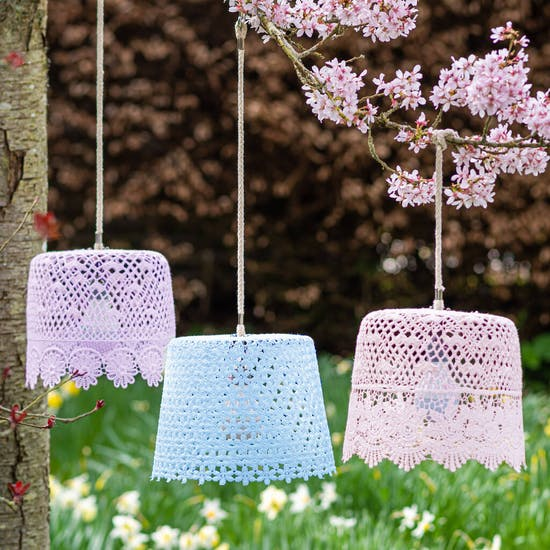 Pastel Garden Lampshades With LED Bulbs