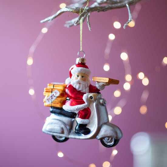 Pizza Delivery Glass Santa Bauble