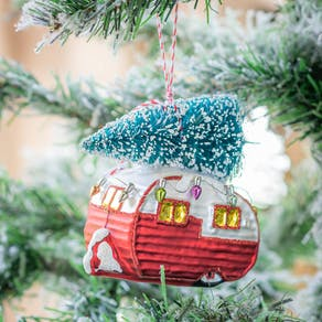 Red Caravan Shaped Christmas Bauble