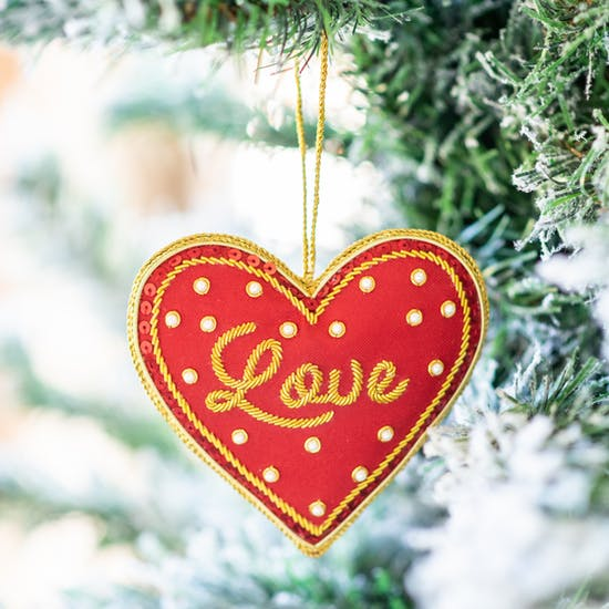 Red Love Heart Embroidered Decoration