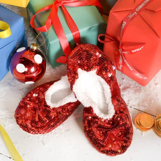 Red Sparkle Sequin Slippers
