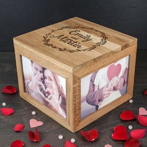 Romantic Oak Photo Keepsake Box
