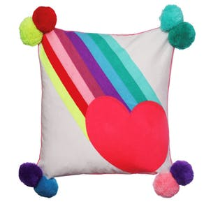 Rainbow Burst with Heart Pom Pom Cushion