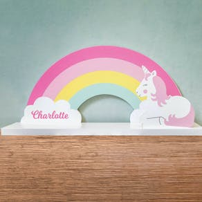 Rainbow Unicorn Personalised Nursery Shelf