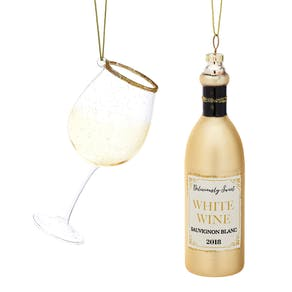 Bottle And Wine Glass Shaped Bauble Set