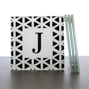 Set Of Four Monogram Glass Coasters