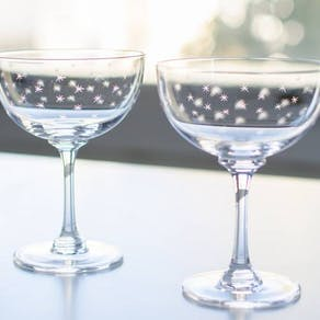 Star Cut Champagne Coupe Saucer Set