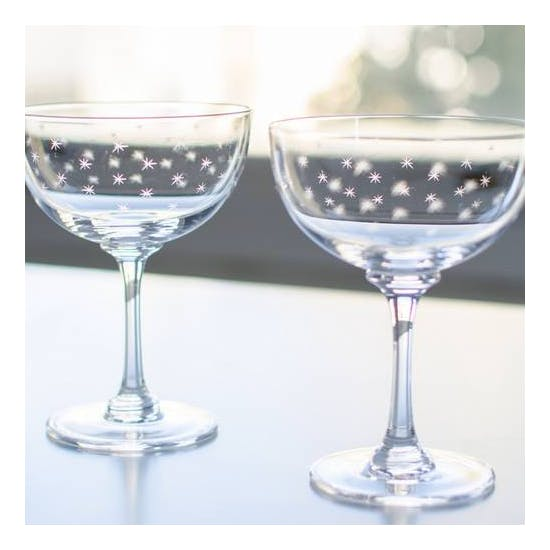 Set Of Six Cut Glass Champagne Coupe Saucers
