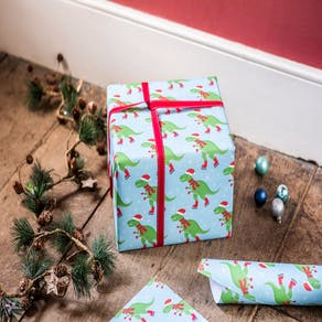 Ice Skating Dinosaur Christmas Gift Wrap