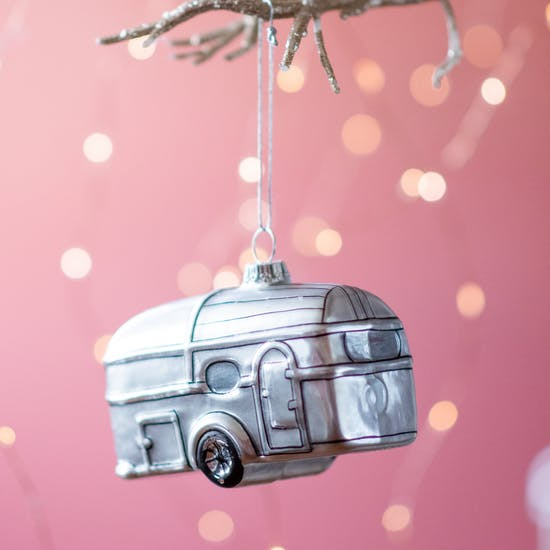 Silver Airstream Trailer Christmas Bauble