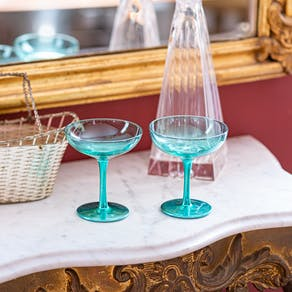 Set Of Two Blue Champagne Saucers