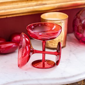 Set Of Two Deep Pink Champagne Coupes