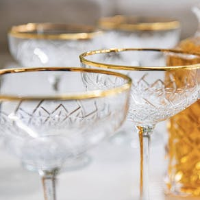 Set Of Two Gold Rimmed Champagne Coupes