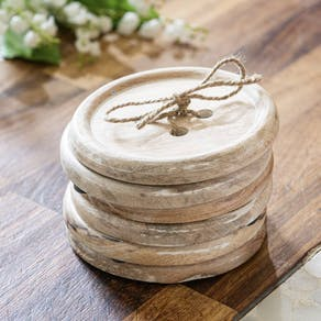 Set Of Six Giant Button Wood Coasters