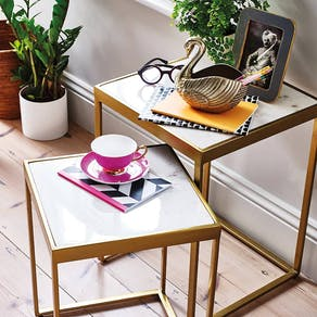 Set of two Marble and Brass Nest Tables