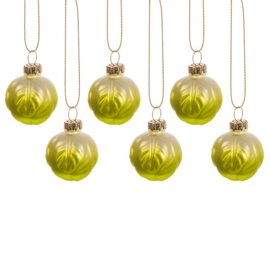 Set Of Six Mini Brussel Sprout Baubles