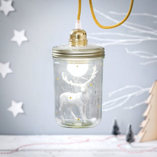 Stag In A Mason Jar Light