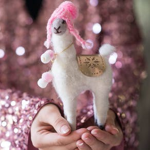 Sweet Llama In A Bobble Hat Decoration