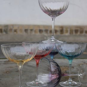 Set Of Six Hand Blown Champagne Saucers