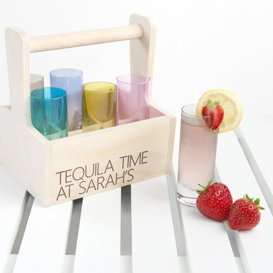 Set Of Six Shot Glasses With Personalised Trug