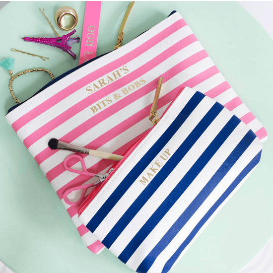 Personalised Striped Accessories Bag