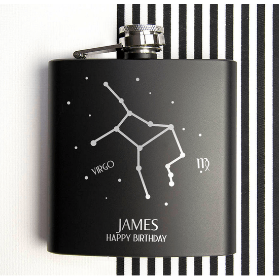 Star Constellation Black Hip Flask