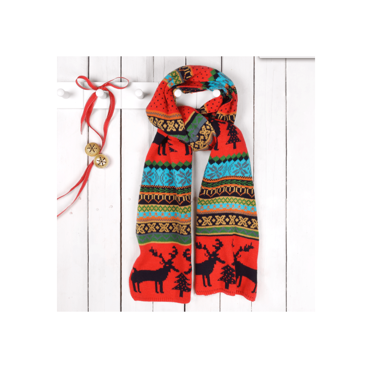 Christmas Scarf.Christmas Jumper Style Woolly Scarf