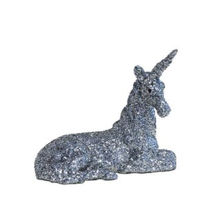 Silver Glitter Unicorn Decoration