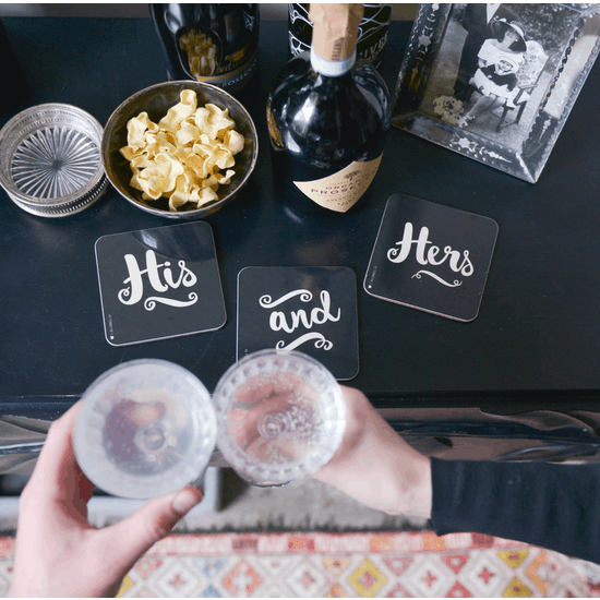 His And Hers Black Coaster Set